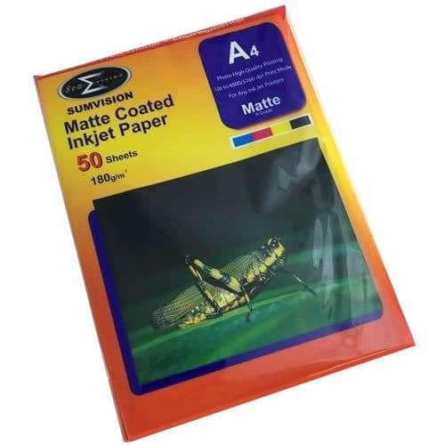 A4 180gsm (50 pack) Matte Photo Paper