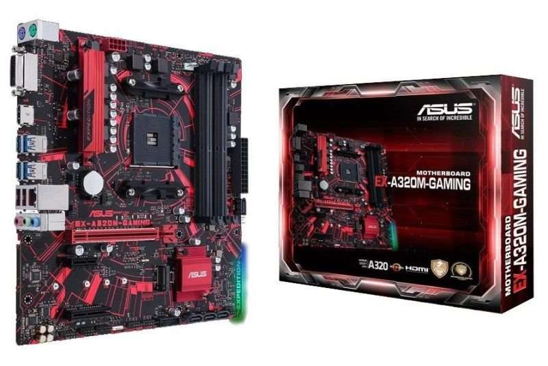 Asus Expedition A320M Gaming, AM4, uATX, 4 DDR4, 64GB, HDMI, DVID, Aura Sync