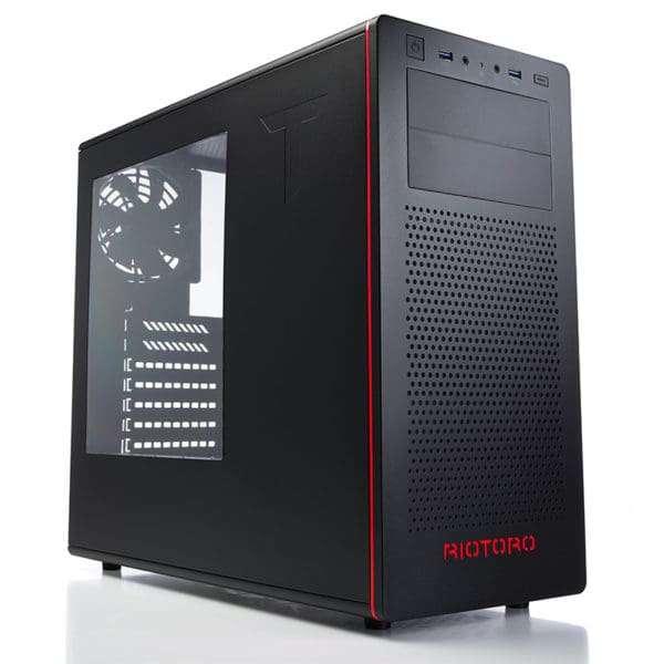 Riotoro – CR480 Mid ATX Gamer Case, Side Window, 2 x 12cm Fans Black/Red