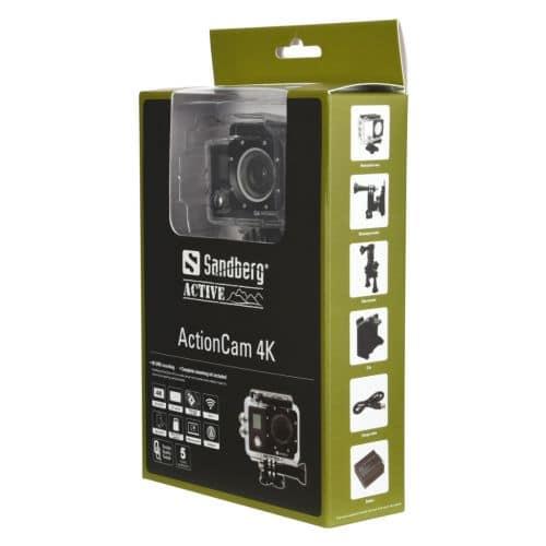 Sandberg – (430-00) 4K 170 Degree Action Camera, Waterproof Case, Wi-Fi, Mounting Kit, LCD Screen, 5 Year Warranty