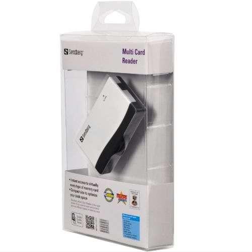 Sandberg – (133-46) External Multi Card Reader, USB Powered, Black & White, 5 Year Warranty