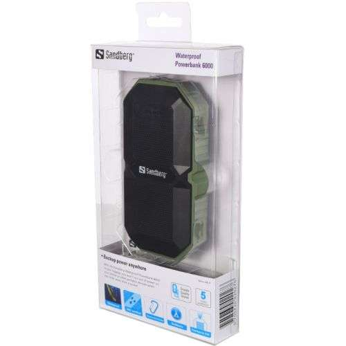 Sandberg – (420-27) 6000mAh Outdoor Powerbank, Waterproof, Dust-proof, Shock-proof, Flashlight, USB, 5 Year Warranty