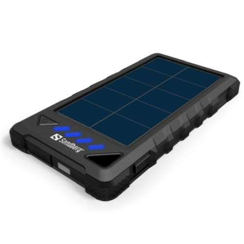 Sandberg – Outdoor Solar Powerbank, 8000mAh, USB & Solar Charging, Flashlight, Rainproof, 4 LED, 5 Year Warrant