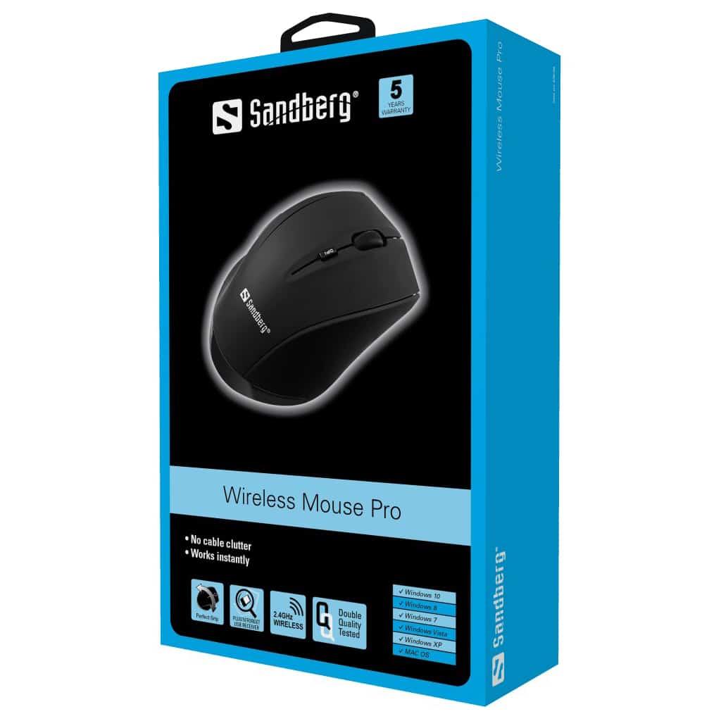 Sandberg – (630-06) Wireless Mouse Pro, 1600DPI, 5 Button, Black
