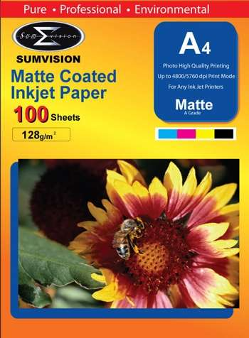 Sumvision 128GSM Matte A4 Photo Paper (100 Sheets)