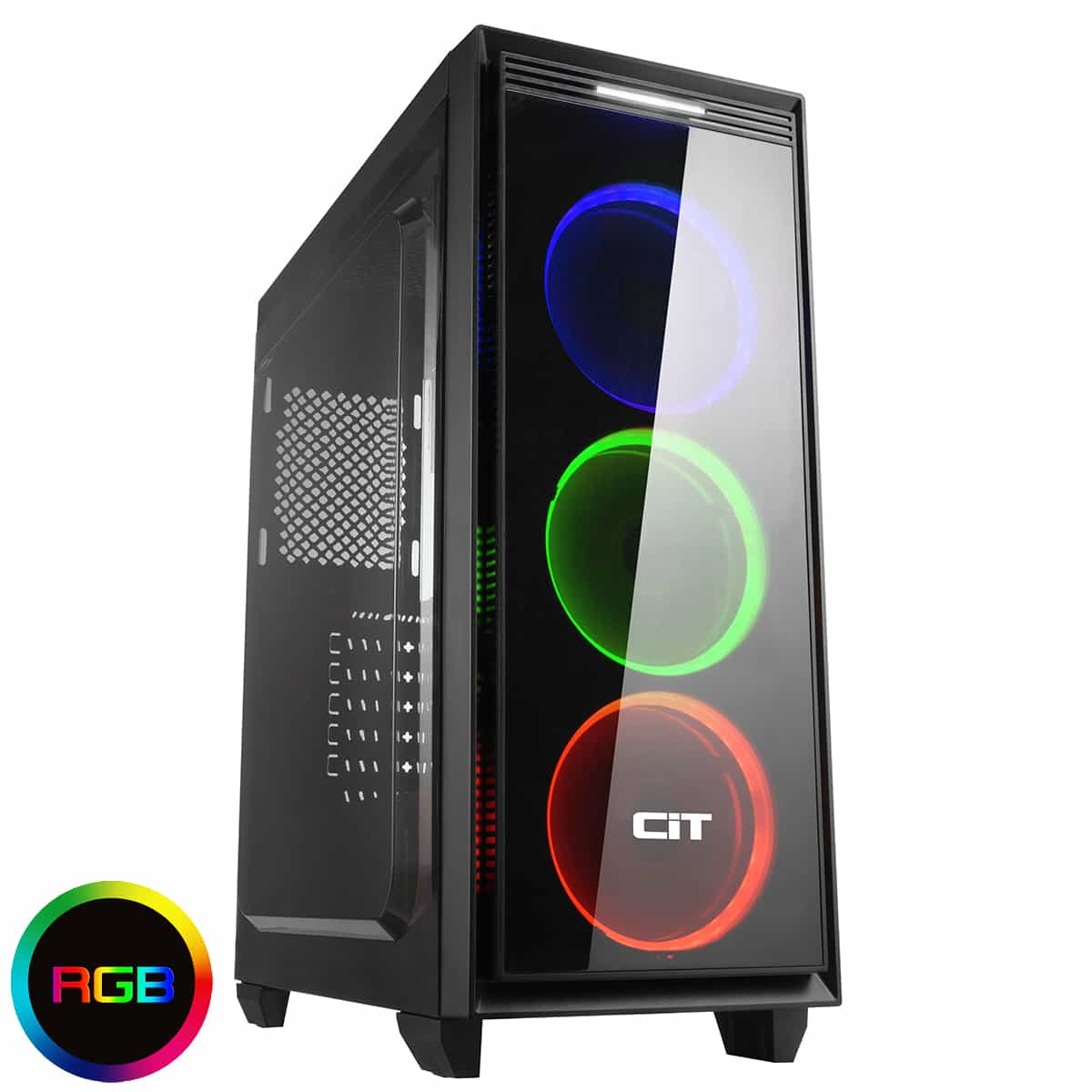 CiT Halo Midi RGB Gaming Case With 3 x Halo Single-Ring RGB LED Fans