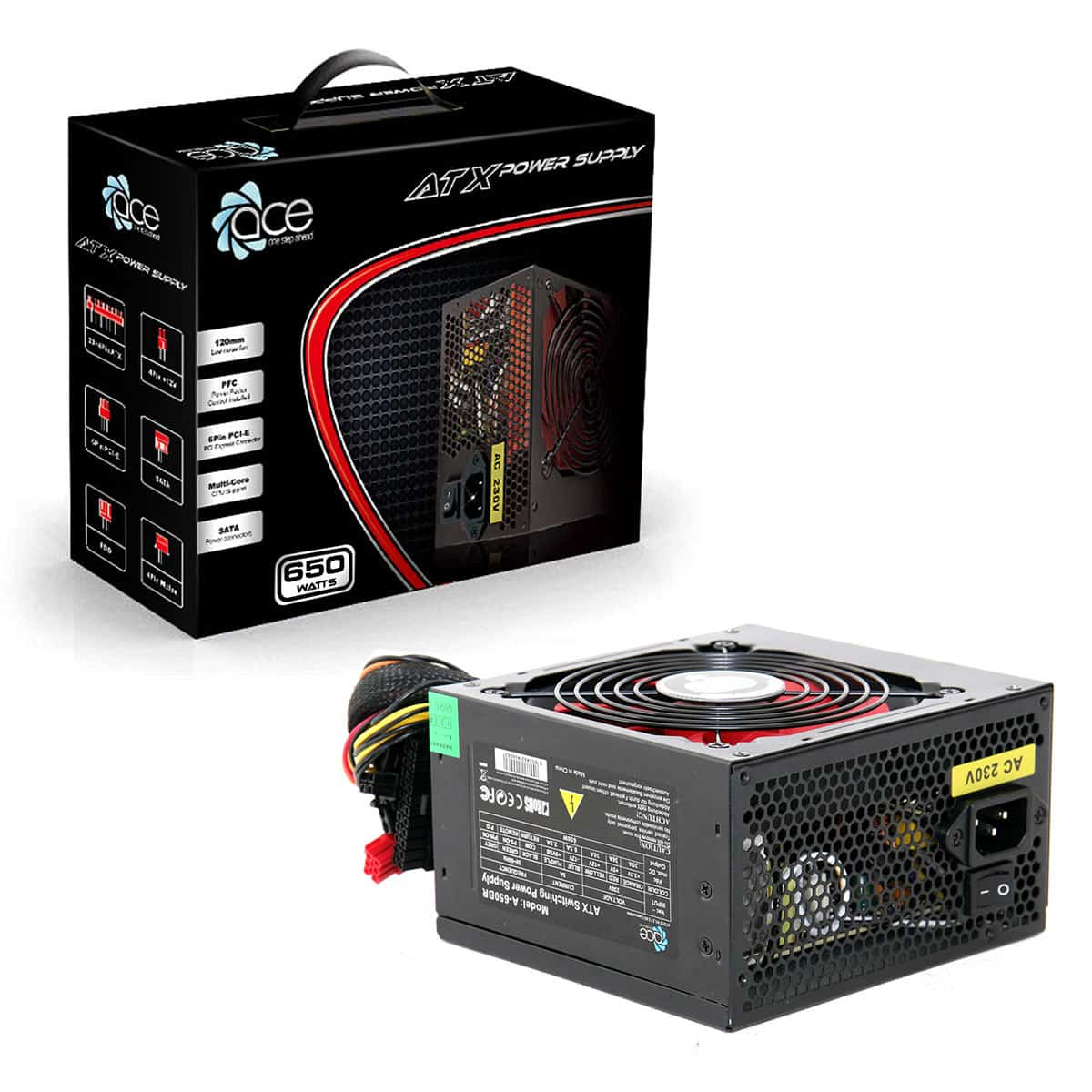 Ace 650w Black PSU 12cm Red Fan PFC