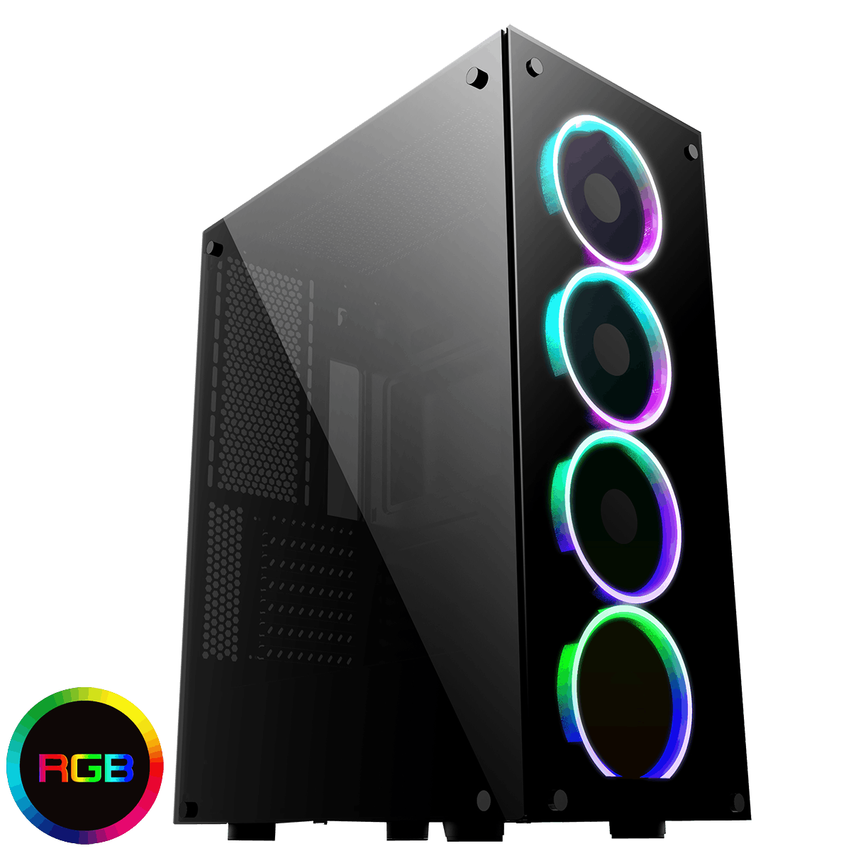 Game Max Predator RGB Full Tempered Glass Gaming Case with MB Sync 3pin RGB Connector