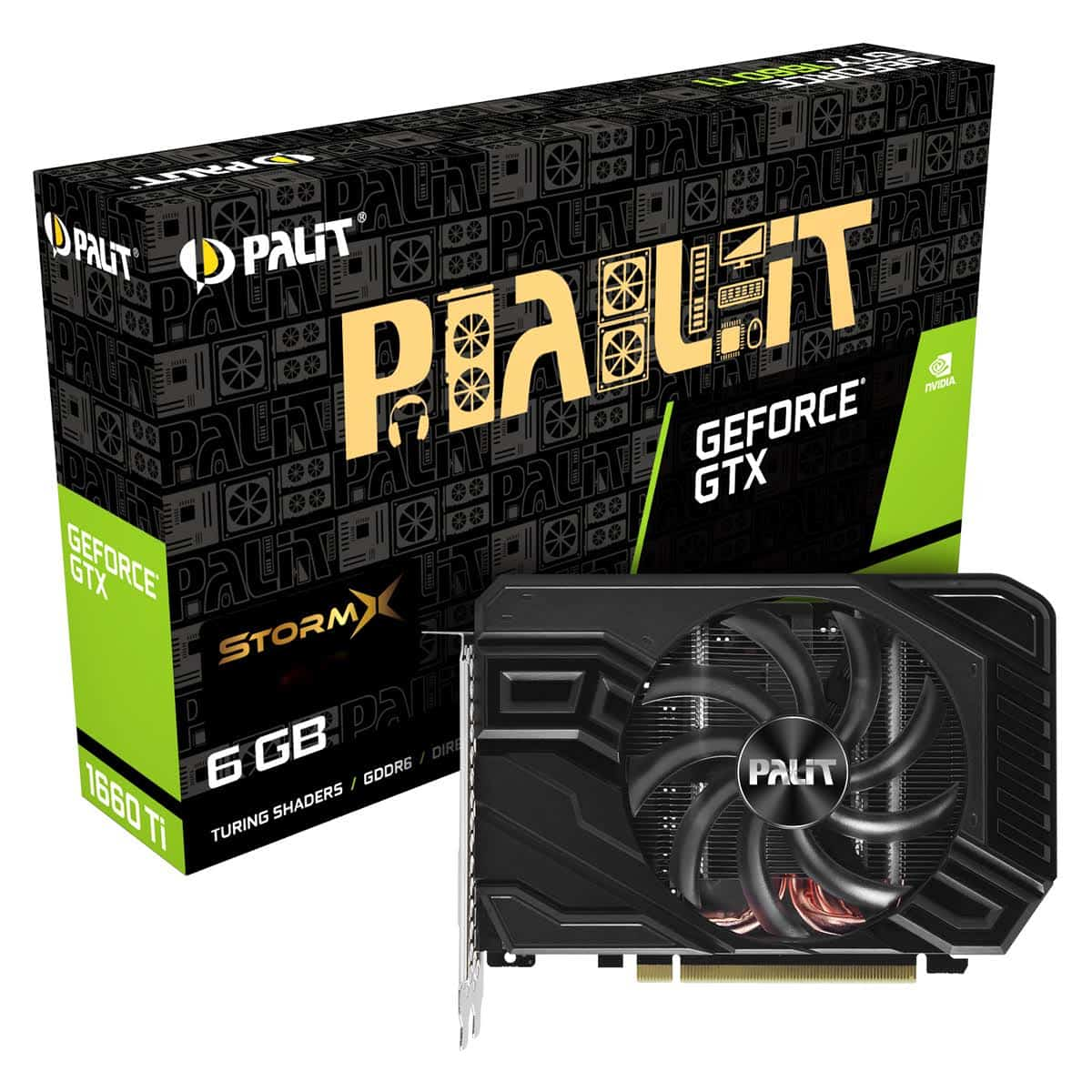 Palit GTX1660 Ti StormX, 6GB DDR6, DVI, HDMI, DP, 1770MHz Clock, Compact Design