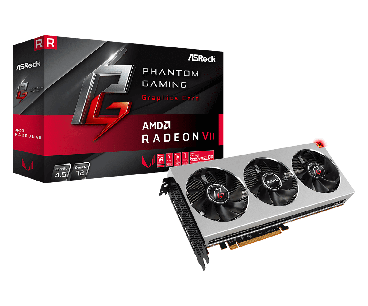 Asrock Phantom Gaming X Radeon VII, 16GB HBM2, PCIe3, 7nm, HDMI, 3 DP, 1750MHz Clock, Triple Fan