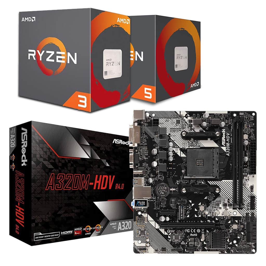 AsRock A320M-HDV Motherboard and Ryzen 3/5 Bundle *5% off Processor*