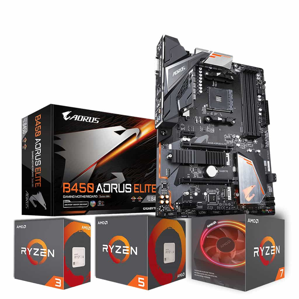 Gigabyte B450 Aorus Elite Motherboard and Ryzen 3/5/7 Processor Bundle *10% Off Processor*