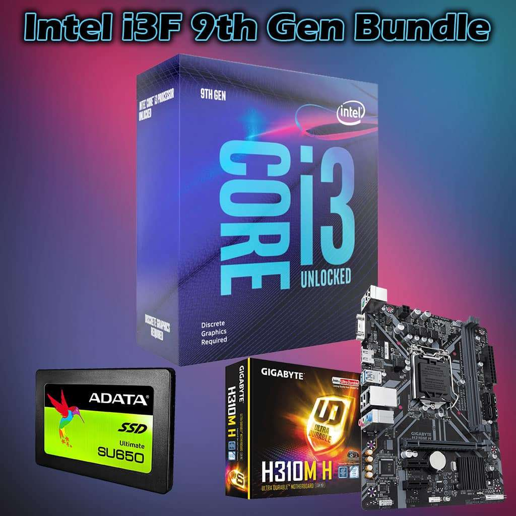 Intel i3F 9th Gen Bundle, 9100F, 8GB RAM, Gigabyte H310, 120GB SSD