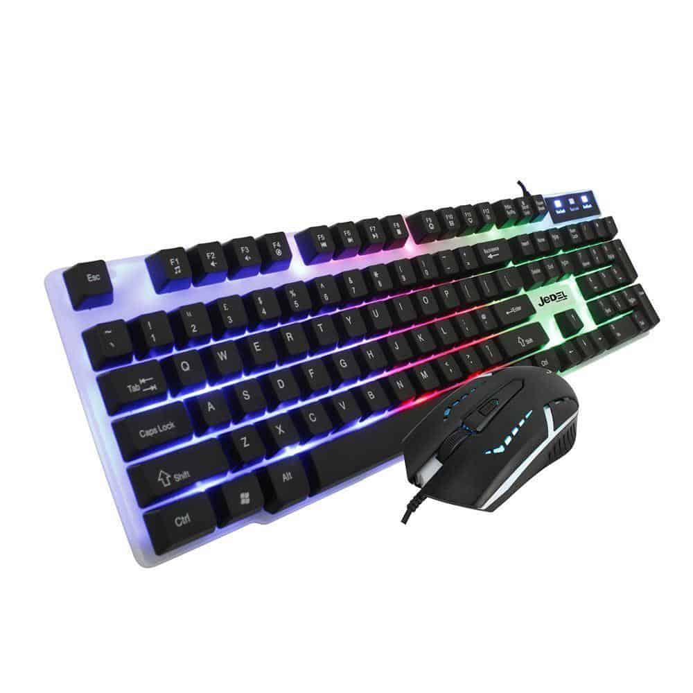 Jedel – GK100 RBG Gaming desktop kit, Backlit Membrane RGB keyboard & 800-1600 DPI LED Mouse