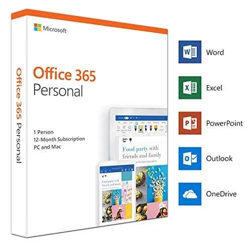 Microsoft – Office 365 Personal 2019, 1 User, 1 Device, 1 Year Subscription, 32 & 64 bit, Medialess