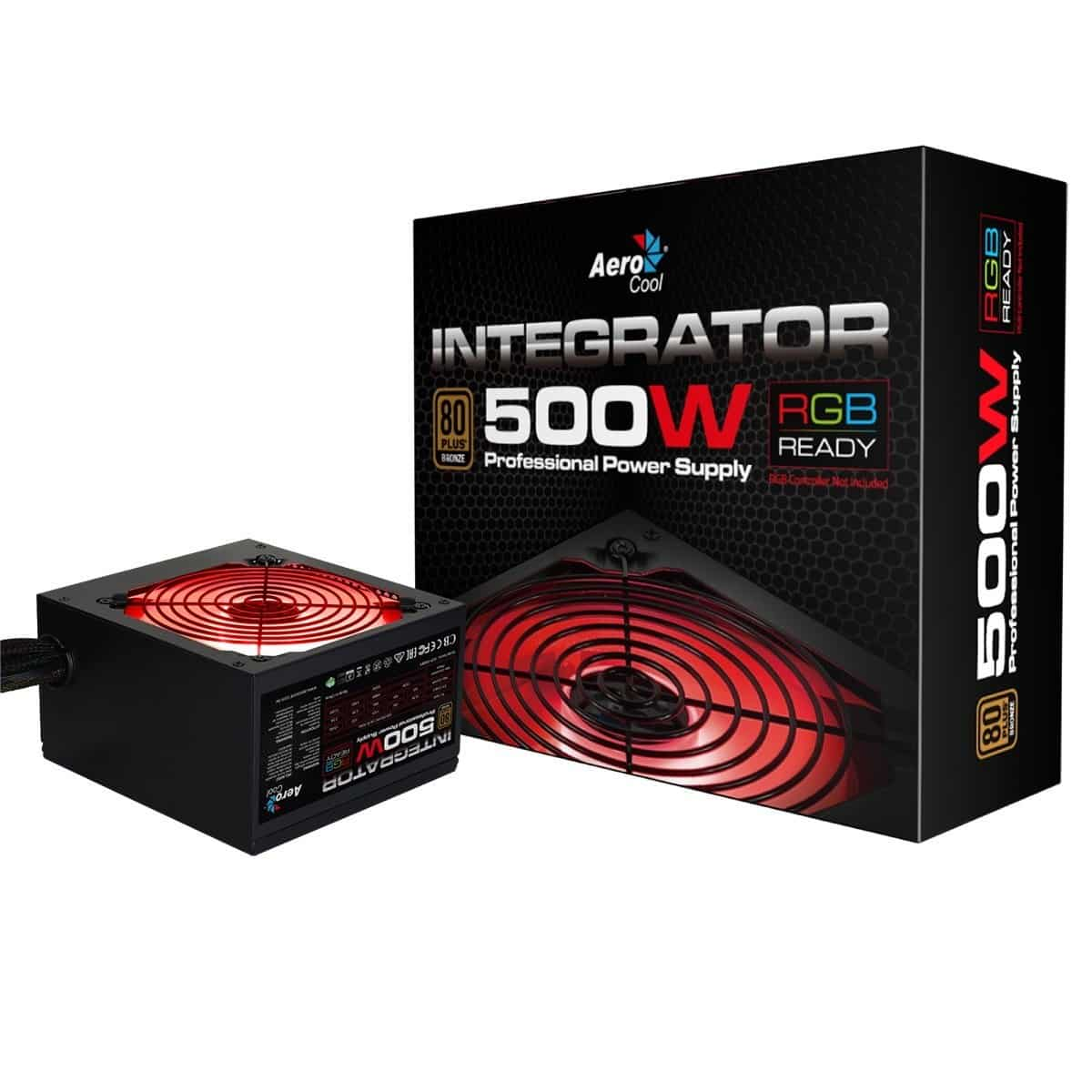 Aerocool Integrator 500W RGB PSU 12cm Black Fan