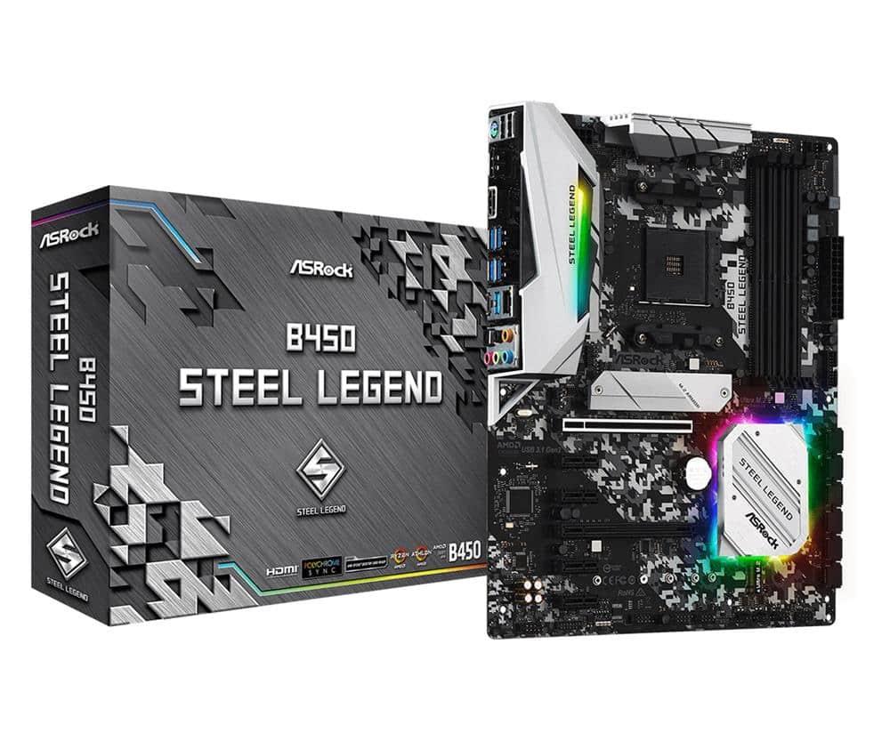 ASRock B450 STEEL LEGEND, AMD B450, AM4, ATX, 4 DDR4, HDMI, DP, XFire, Rock-Solid Durability, RGB Lighting,