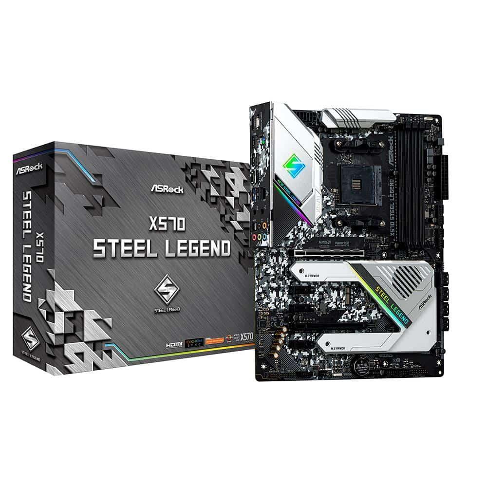 ASRock X570 STEEL LEGEND, AMD X570, AM4, ATX, 4 DDR4, HDMI, DP, XFire, RGB Lighting, PCIe4, Rock-Solid Durability