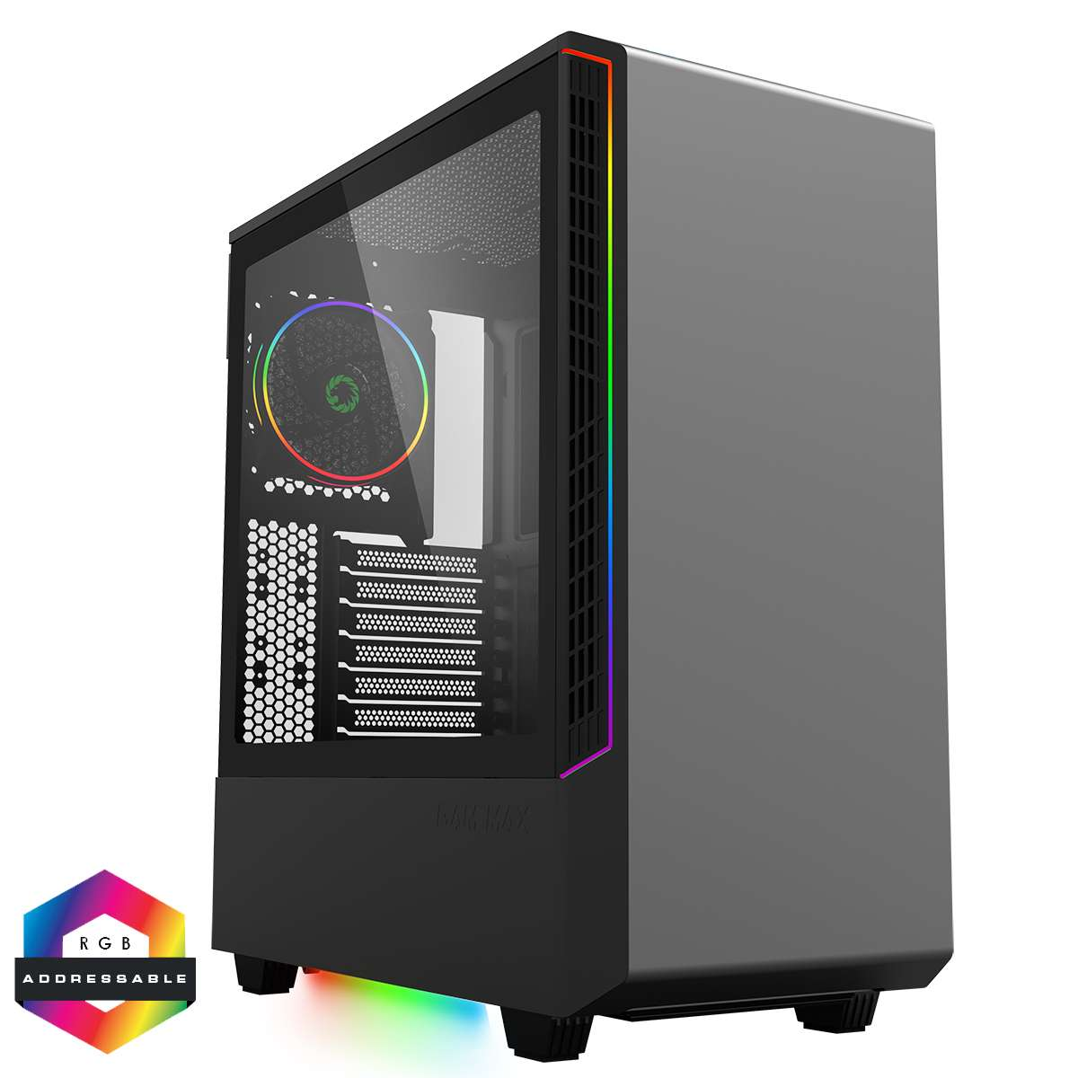 Game Max Panda Black ARGB Gaming Case 3x ARGB Strips 1x ARGB fan 1x ARGB Hub