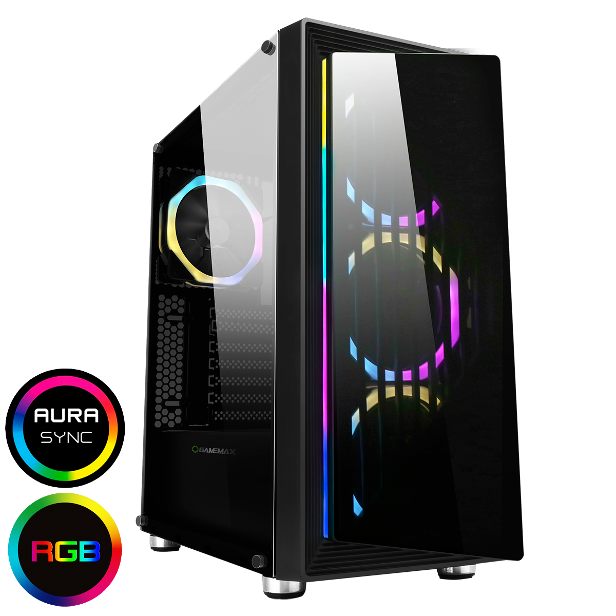 Game Max Osmium Mid-Tower Gaming Case With 4x12cm Spectrum Dual-Ring Fans 1 x RGB Strip Front and Tempered Glass