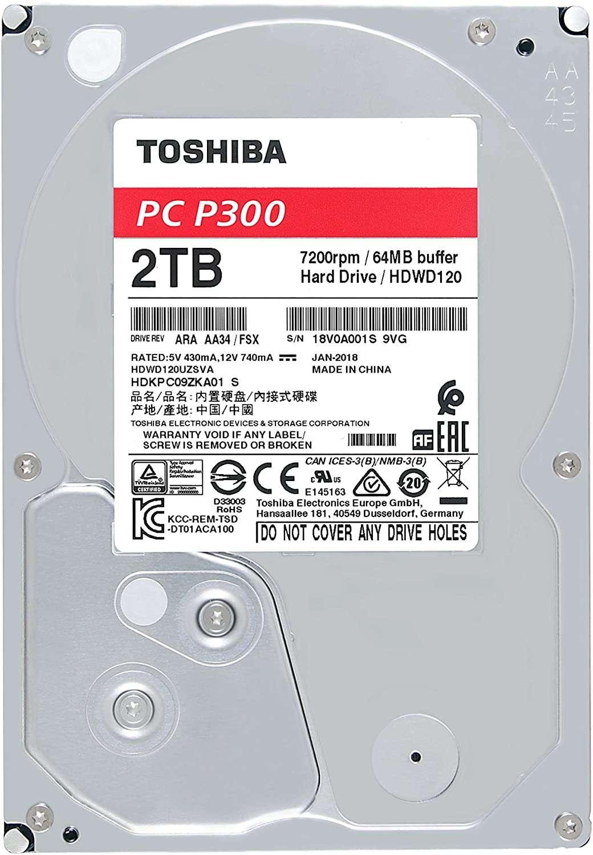 Toshiba 3.5″ SATA3, P300, 7200RPM, 64MB Cache Hard Drive 2TB