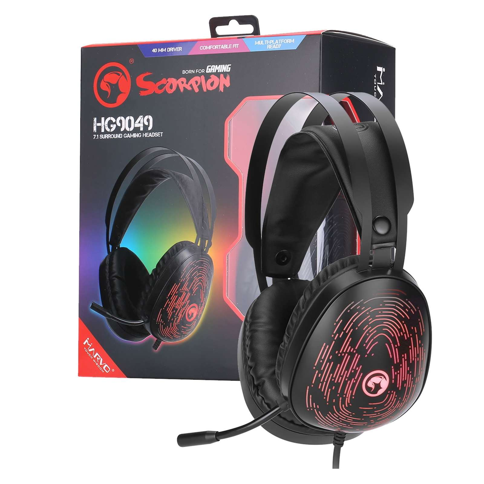 Marvo Scorpion HG9049 7.1 Virtual Surround Sound 7 Colour LED Gaming Headset – Xbox One & PS4 Compatible