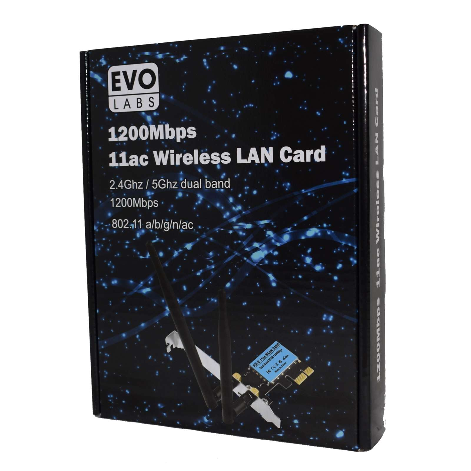 Evo Labs PCI-Express Full Height AC1200 Dual Band WiFi Card with Detachable Antennas