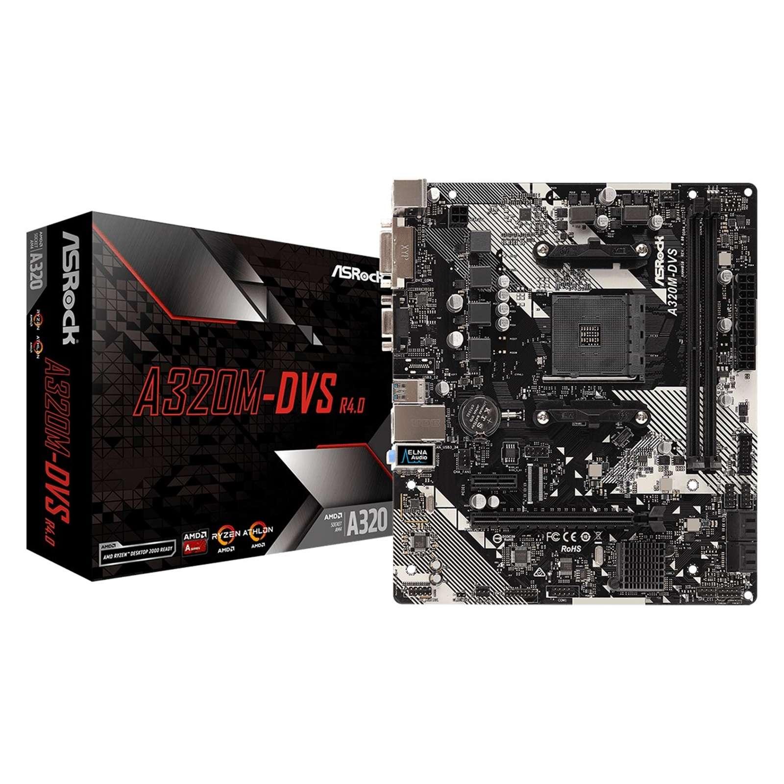 ASRock A320M-DVS R4.0 AMD Socket AM4 DDR4 Micro ATX DVI-D/VGA USB 3.1 Motherboard