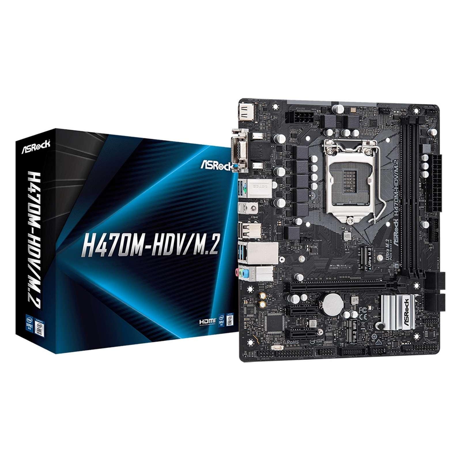ASRock H470M-HDV/M.2 Intel Socket 1200 Micro ATX HDMI/VGA/DVI USB 3.2 Gen1 M.2 Motherboard