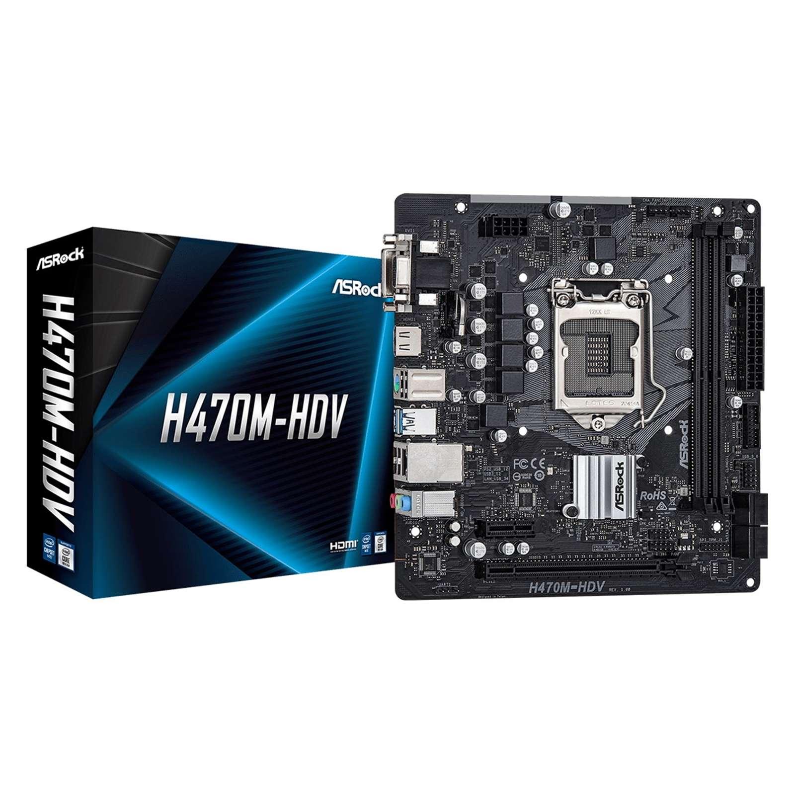 ASRock H470M-HDV Intel Socket 1200 Micro ATX DDR4 VGA/HDMI/DVI USB 3.2 Gen1 Motherboard