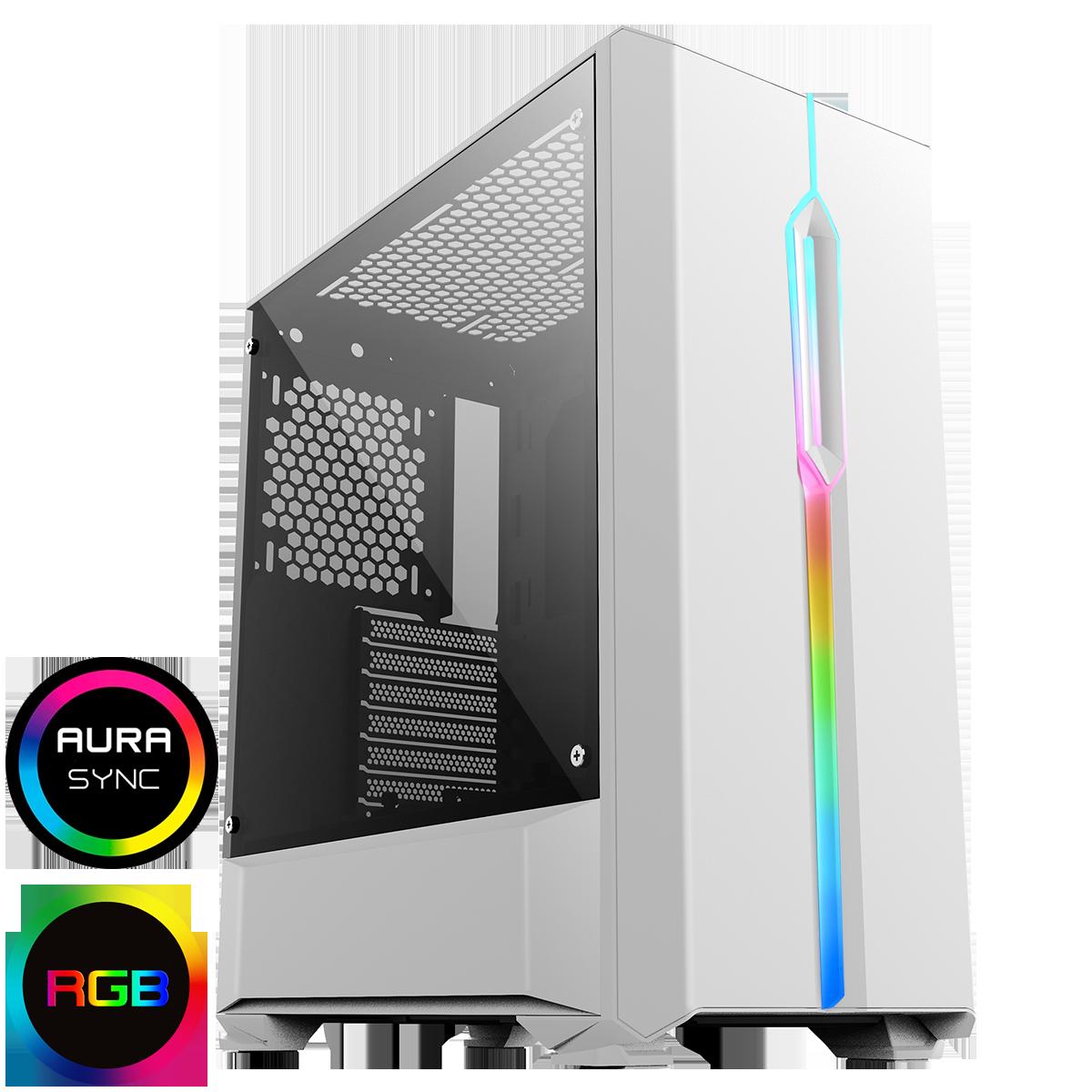 GameMax Solar White RGB Midi Tempered Glass Gaming Case