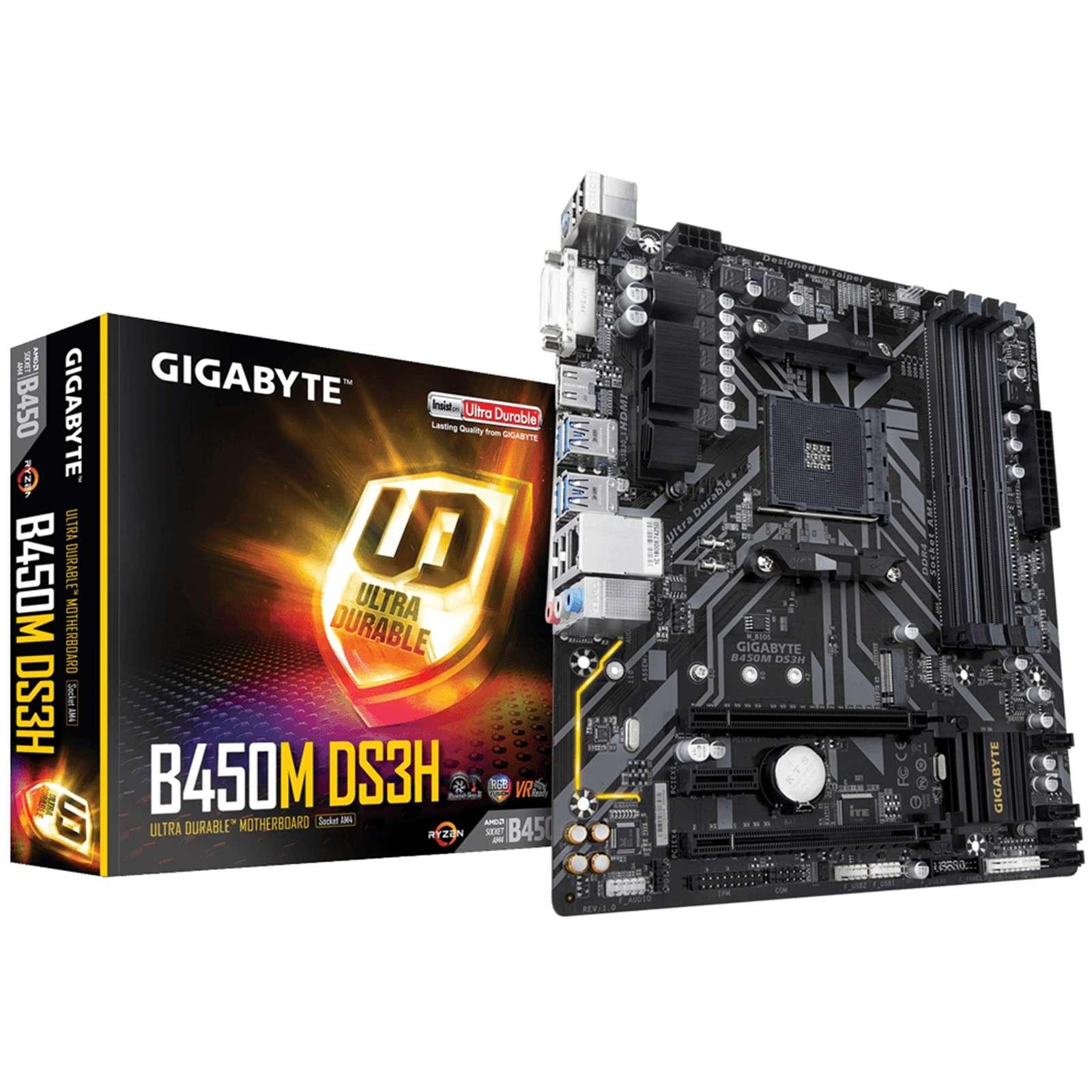 Gigabyte B450M DS3H AMD Socket AM4 Micro ATX DVI-D/HDMI DDR4 USB 3.1 Motherboard