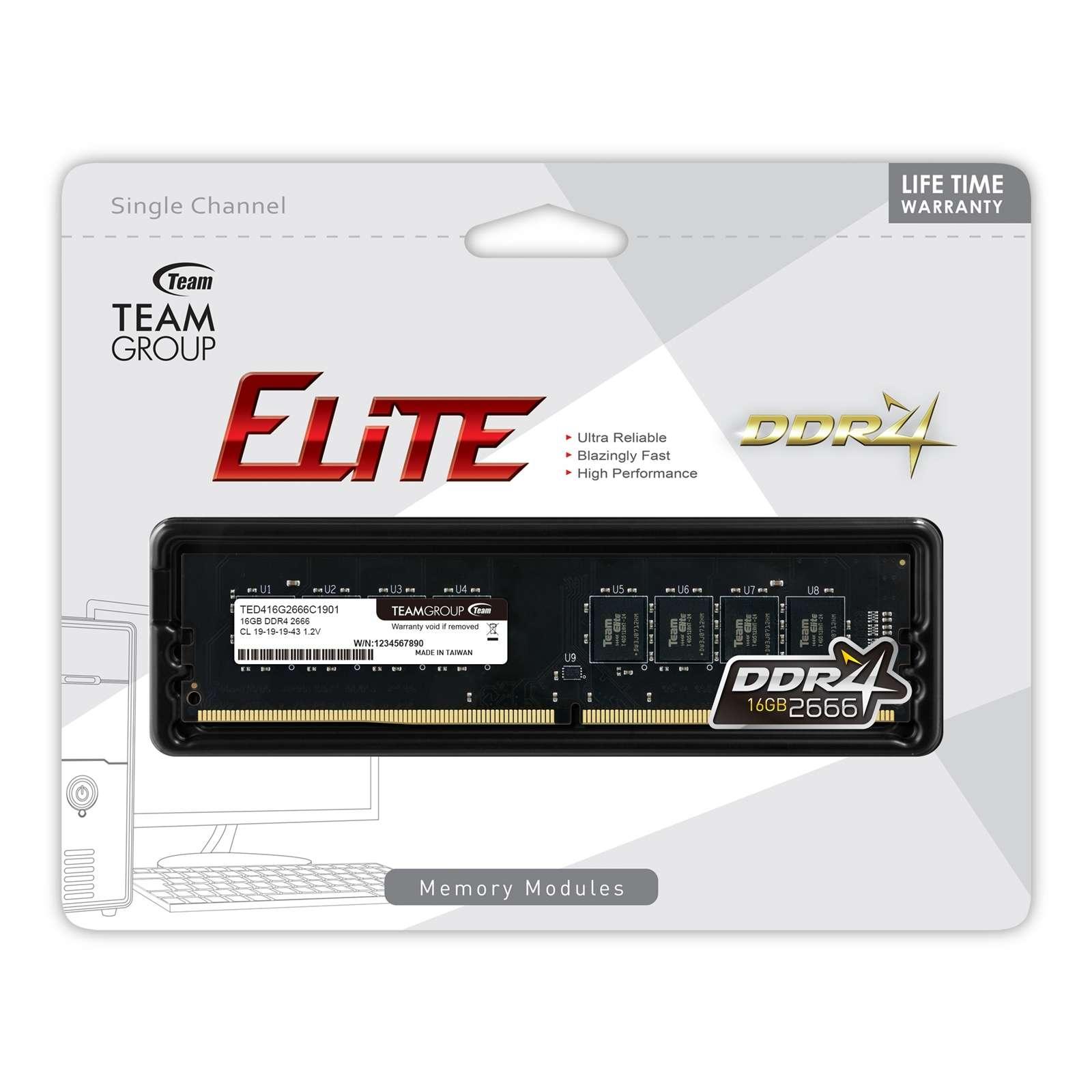 Team ELITE 16GB No Heatsink (1 x 16GB) DDR4 2666MHz