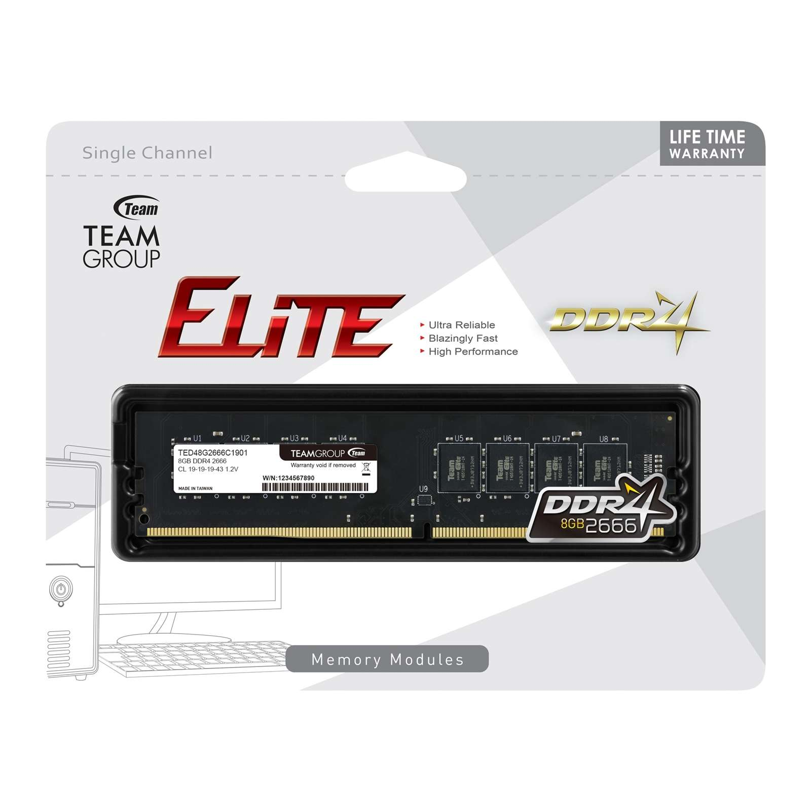 Team Elite 8GB No Heatsink (1 x 8GB) DDR4 2666MHz