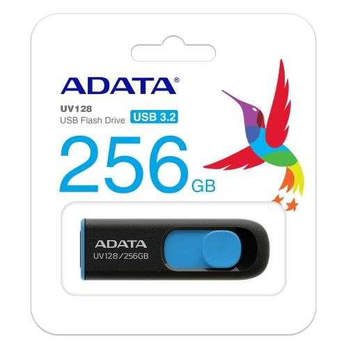 ADATA 256GB USB 3.0 Memory Pen, UV128, Retractable, Capless, Black & Blue