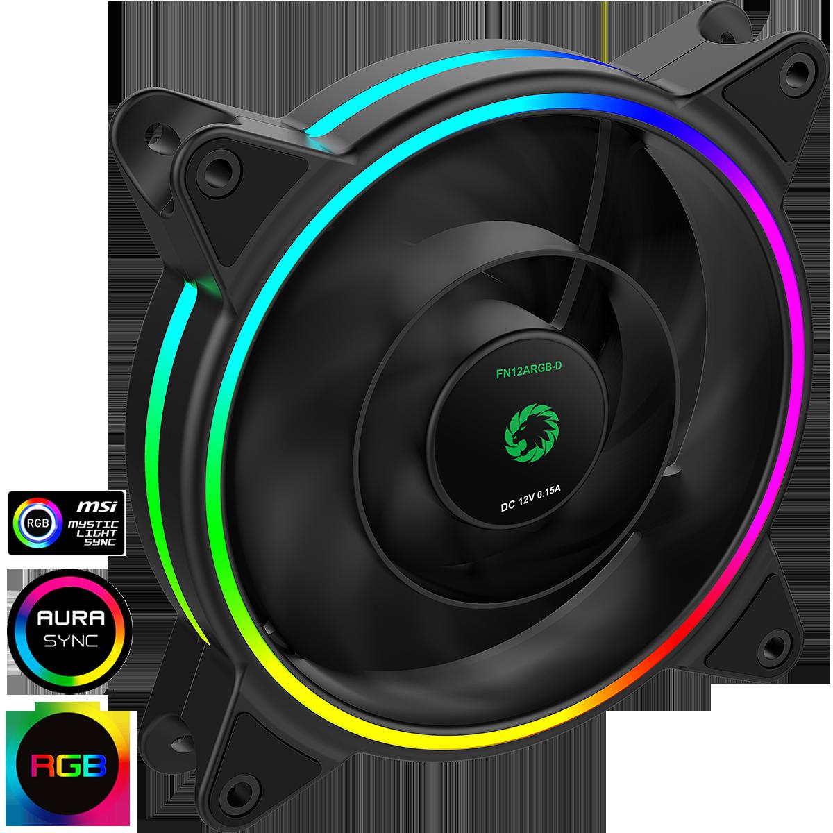 GameMax Razor 12cm Rainbow ARGB Fan RTB 3pin M&F Aura Header 3pin/4pin Power